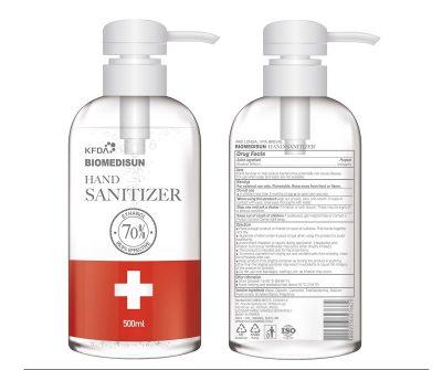 BIOMEDISUN - 500ml 99.9% Effective Alcohol Hand Sanitizer Bottles