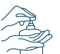 Illustration demonstrating application of hand sanitiser from a pump bottle onto palm of hand
