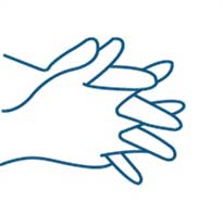 Hands folded together with fingers interlocked rubbing hand sanitiser into them